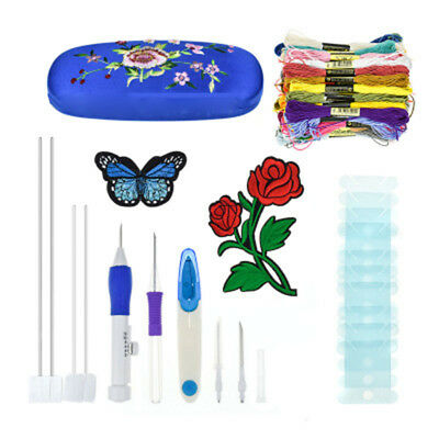 Needlework DIY Embroidery Craft Pen Punch Needles Thread Set with Storage Box