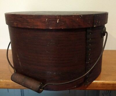 Antique 11 Inch Thick Walled Pantry Band Box W/bail Handle Ct Estate Fresh Aafa