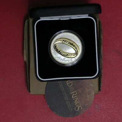 New Zealand 2003 Proof LORD OF THE RING Silver $1 Gold Plating Scarce (3222717F)