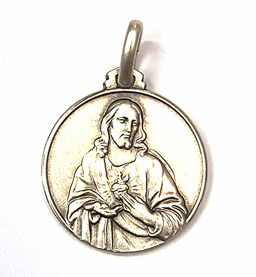 16MM Sterling Silver 925 Sacred Heart of Jesus Medal Necklace Pendant-ITALY