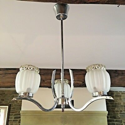 Art Deco Chandelier 3 Arm Ceiling Light French 3 Glass Lamp Shades