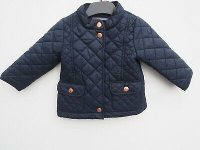 Gorgeous NEXT Baby Girls Navy Blue Quilted Jacket age 6-9 months