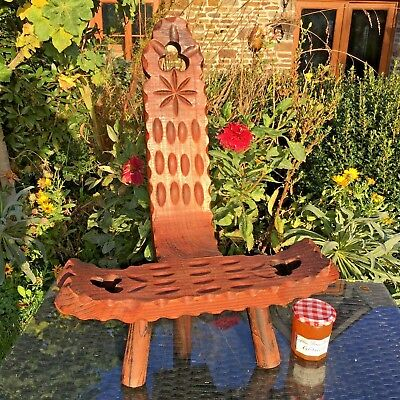 Vintage French SPINNING Stool 3 STRAIGHT Legs HAND CARVED Rustic BRETON STYLE