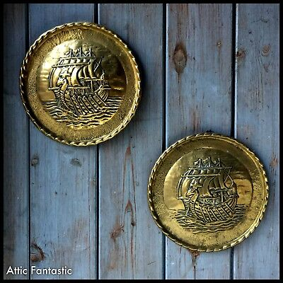 "Pair of Vintage Brass Pressed Wall Plaques Arts n Crafts style Galleon 8.5"" Diam"