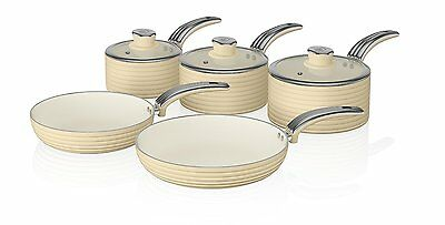 Swan Cook Cream Retro Set of 5 Non Stick Sauce and Frying Pan Set ALL Hob Types