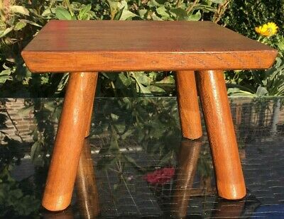 Vintage French OAK Foot Stool 4 Legged SQUARE Charming pot plant stand