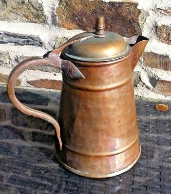 Antique Solid Copper Coffee Pot French Hinged Lid HOT CHOCOLATE POT TEAPOT RARE