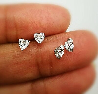 2.00 Ct Heart Shape VVS1 Diamond Solitaire Stud Earrings 14K White Gold GP