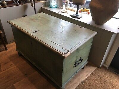 Antique Georgian Painted Pitch Pine Chest / Trunk / Blanket Box c1830's