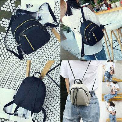 Fashion Women Girl Small Backpack Travel Black Nylon Handbag Shoulder Bag Gift