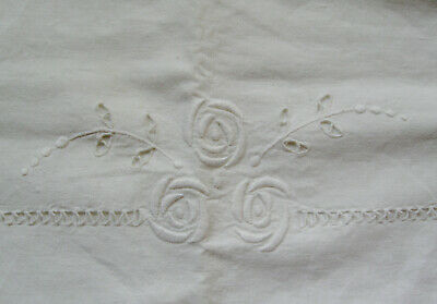 Vintage Mission Arts & Crafts White Linen Embroidered & Cut Work Pillowcase 31""