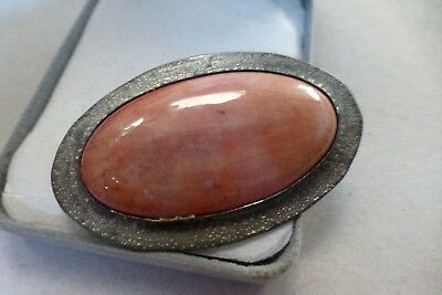 Vintage Ruskin style brooch Pewter pink ceramic stone Arts Crafts pin