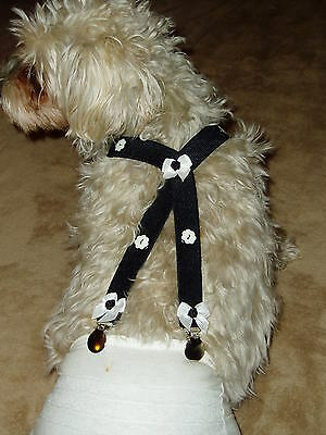 DOG-SUSPENDERS-DIAPER-PET-ACCESSORIES-BLACKwithBUTTONS&BOWS-CUSTOM MADE LG SIZES
