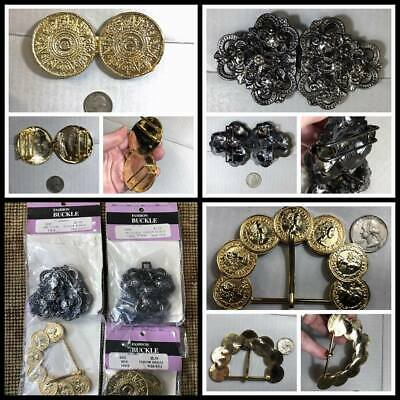 Vintage LOT Fancy Belt Buckle Novelty Decorative Coins Mayan Antique Art Nouveau