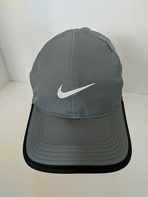 finest selection 97557 3f1ad NIKE Dri-Fit Feather Light Hat Cap 679421 Gray and White Running Tennis EUC