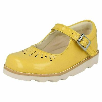 Clarks Girls Shoes 'Crown Jump T' YELLOW PATENT  4.5/4 1/2 G Width fitting NEW