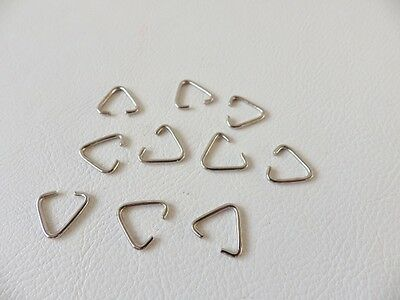 50 x Silvertone 14mm X 12.4mm Triangle Jump Rings / Bails