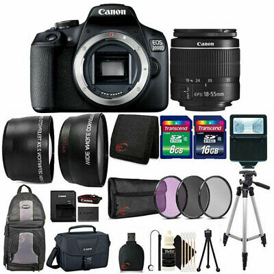 Canon EOS 2000D / Rebel T7 24.1MP DSLR Camera + 18-55mm lens All You Need Bundle