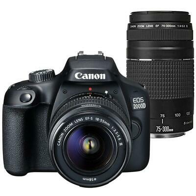 Canon EOS 2000D / Rebel T7 24.1MP DSLR Camera + 18-55mm III Lens + 75-300mm Lens