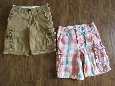 BOYS DARK TAN & PLAID ABERCROMBIE & FITCH KHAKI CARGO SHORTS LOT sz 10 A&F
