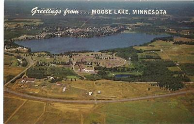 Greetings From MOOSE LAKE MN Aerial View State Hospital Vintage Postcard