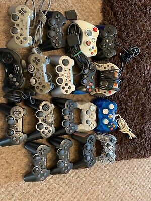 Job Lot Of 18 Mixed Untested / Faulty Controllers For Ps1 Ps2 Ps3 Xbox Xbox 360