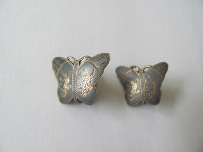 Beautiful SIAM STERLING Butterfly Screw Clip Earrings Niello? Thai Dancer Etched