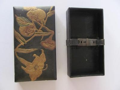 Antique RARE Diary Safe Box Leather Strap Lock Black & Gold Lily Flowers No Key