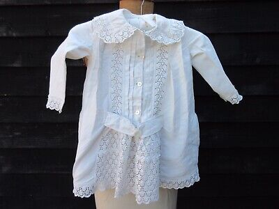 Victorian childs dress white Broderie anglais mother of Pearl buttons