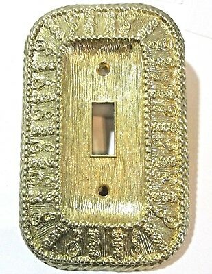 Single Toggle Wall Plate 1968 American Tack And Hardware Gold Tone Ornate Nos