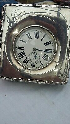 Engraved Silver Cased Antique Table Clock Goliath Travel Watch