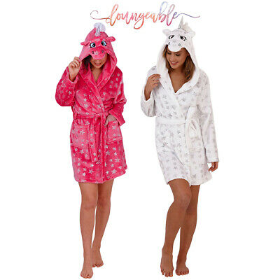 Womens Loungeable Silver Star 3D Unicorn Robe Ladies Cosy Novelty Dressing Gown