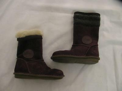 e231ddfaba CLARKS Toddler Girls Sz 7F Boots SNUGGLEHUG Purple Suede Fur Lined Knit Trim