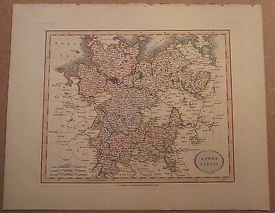 JOHN CARY MAP OF LOWER SAXONY 1813 FROM HIS New Elementary Atlas