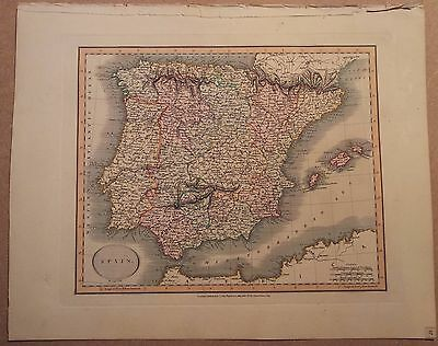 JOHN CARY MAP OF SPAIN 1813 FROM HIS New Elementary Atlas