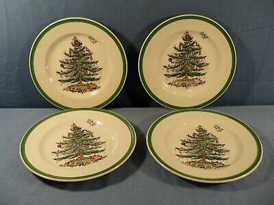 """Set of 4 Spode Christmas Tree Pattern Made in England Salad Plates 7 3/4"""" Wide"""