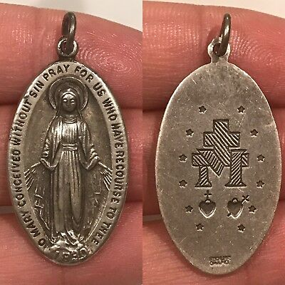 St. Virgin Mary SUPERB Vintage Chapel Sterling Silver Catholic Miraculous Medal