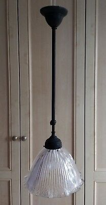 Edwardian Brass & Clear Ribbed Glass Shade - Rise & Fall Centre Light