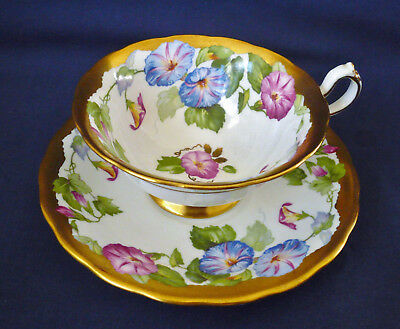Royal Chelsea England Gold ~ MORNING GLORY ~  Floral TEACUP tea cup #1