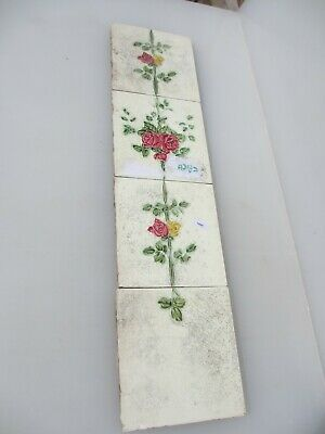 Vintage Ceramic Tiles Set Fireplace Architectural Antique Tile Floral Flowers x4