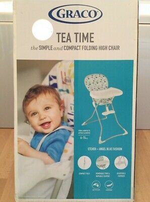 Graco High Chair Tea Time Spots Etcher Angel Blue - NEW