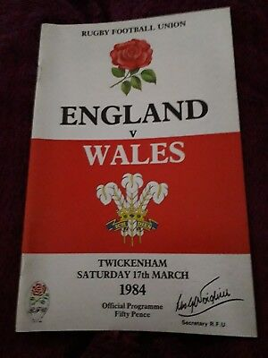 1984-England V Wales-Five Nations-International Rugby Union Programme-Vgc