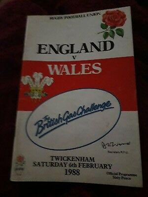 1988-England V Wales-Five Nations-International Rugby Union Programme-Good