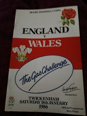 1986-England V Wales-Five Nations-International Rugby Union Programme-Vgc