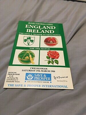 1988-England V Ireland-Five Nations-International Rugby Union Programme