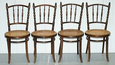 Set Of Four Original Circa 1880 Victorian Thonet Fiscel Dining Chairs Rattan