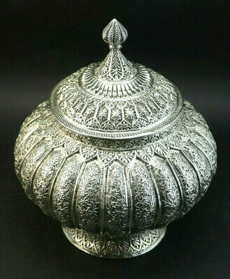 Impressive Southeast Asian Silver Repousse Offering Water Pot Bowl And Cover