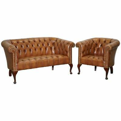 Hand Made In England Chesterfield Brown Leather Tub Armchair & 2 Small Seat Sofa