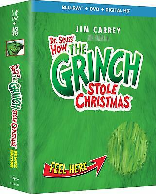 NEW!! Dr. Seuss' How The Grinch Stole Christmas Deluxe Ed. (Blu-ray/DVD/Digital)