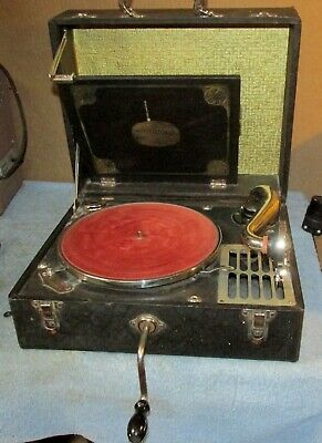 Vintage SILVERTONE PORTABLE Wind Up/Crank/Turntable/Phonograph/Record Player J1